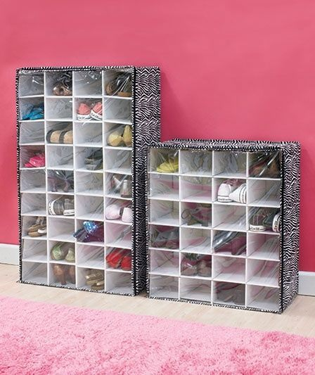 Zebra Print Shoe Storage Chest 24 or 36 Pair Shoe Organizer Closet or Bedroom