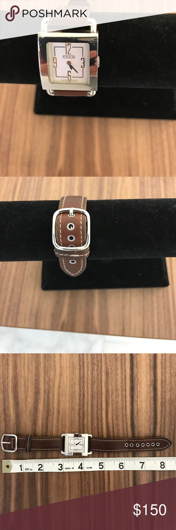 Coach Watch Timeless coach watch silver with the brown leather band. Works beautifully. Coach Accessories Watches