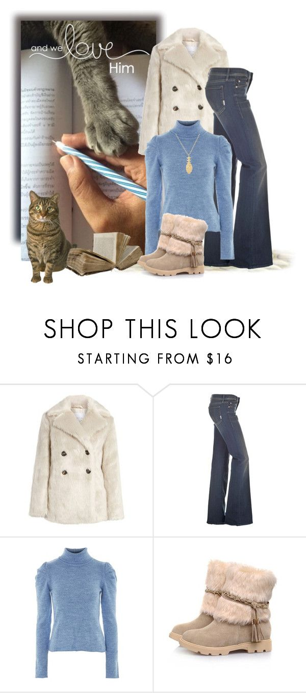 """Faux Fur Coat Vintage"" by shanasark ❤ liked on Polyvore featuring Lost Ink, Mother, Topshop, Jennifer Fisher and vintage"