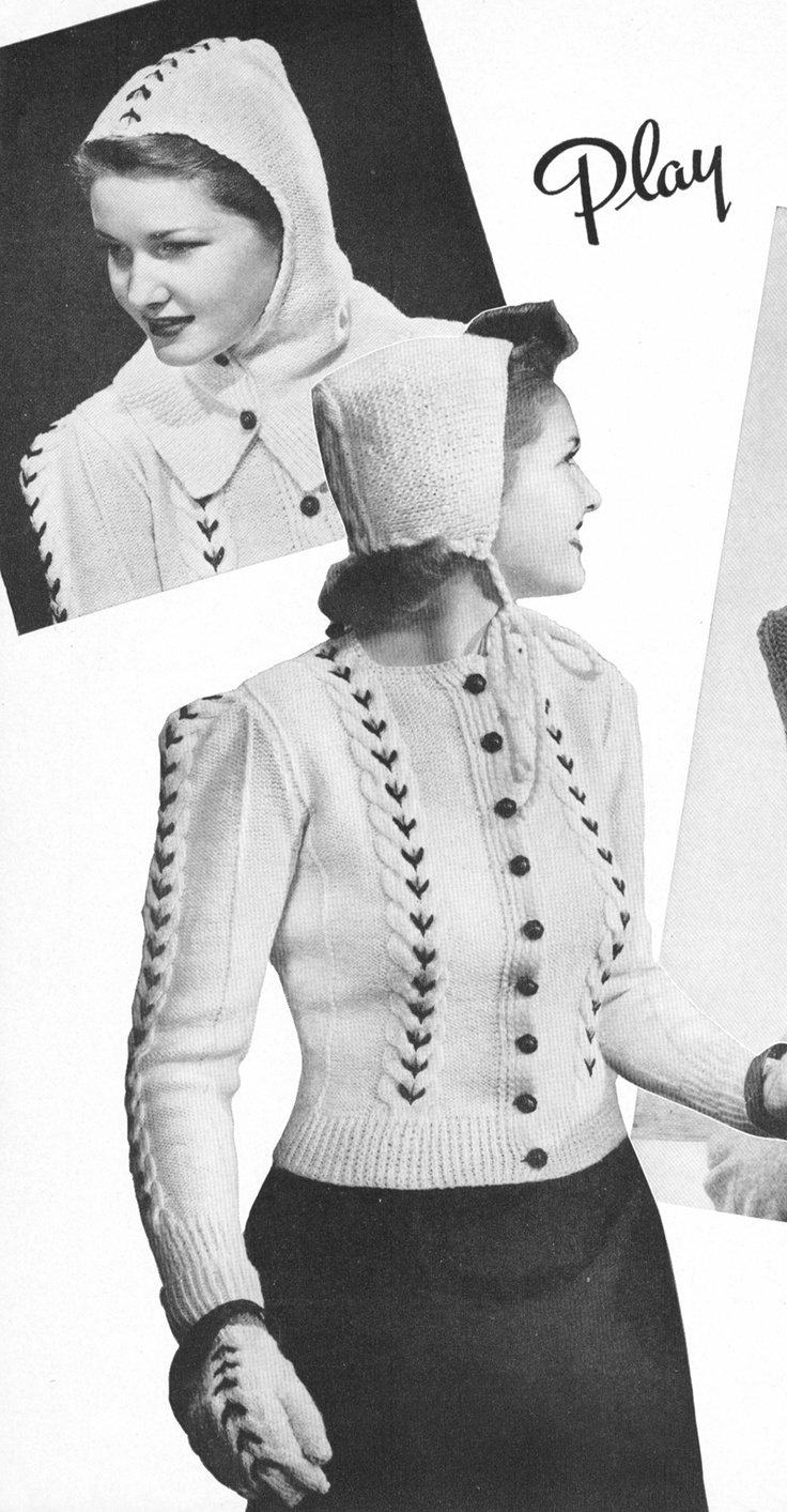 Hoodie from the 1940's. Knit cardigan with matching cap, buttoned hood and gloves.