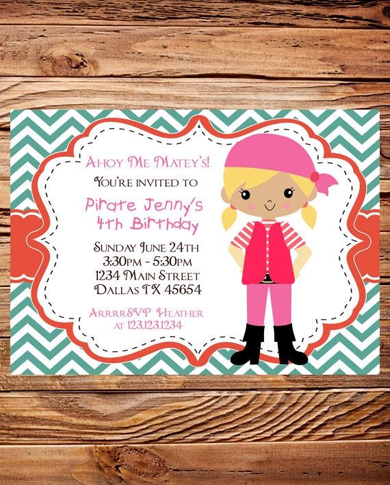 Pirate Birthday Party Invitation, GIRL, Boy, Pirates Birthday Party, Teal, Orange, Red, Chevron Stripes, Printable, Digital. $18.00, via Etsy.