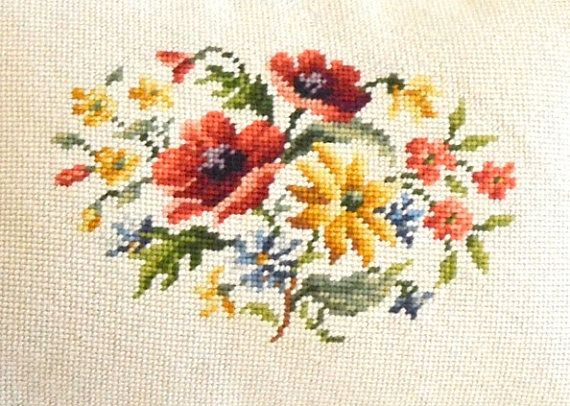 vintage floral needlepoint pillow velvet needlepoint pillow