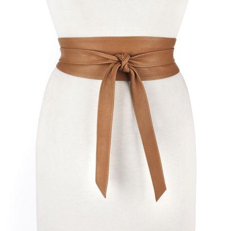 Nida Leather Wrap Belt in Raw Sienna