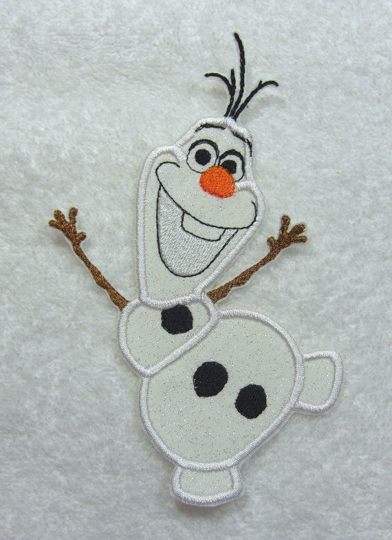 Happy Olaf Snowman Frozen Fabric Embroidered by TheAppliquePatch, $10.00