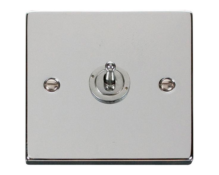 VPCH421BK | Click Deco Decorative 1 Gang 2 Way 10AX Toggle Light Switch Polished Chrome | sparkydirect.co.uk