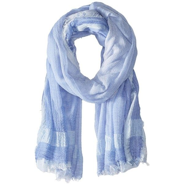LAUREN Ralph Lauren Rosa (Cloud Blue) ($50) ❤ liked on Polyvore featuring accessories, scarves, blue scarves, striped scarves, striped shawl, lauren ralph lauren and blue shawl
