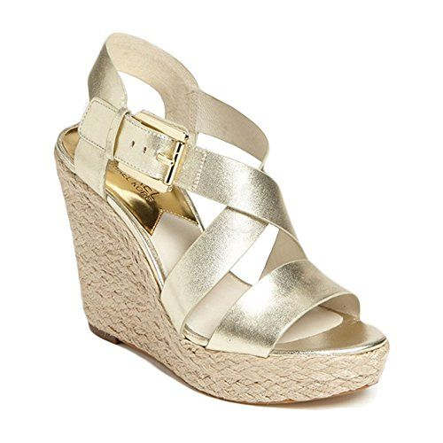 Michael Kors Women's Giovanna Leather Wedge Sandal -- Find out more details  by clicking the image : Wedge sandals