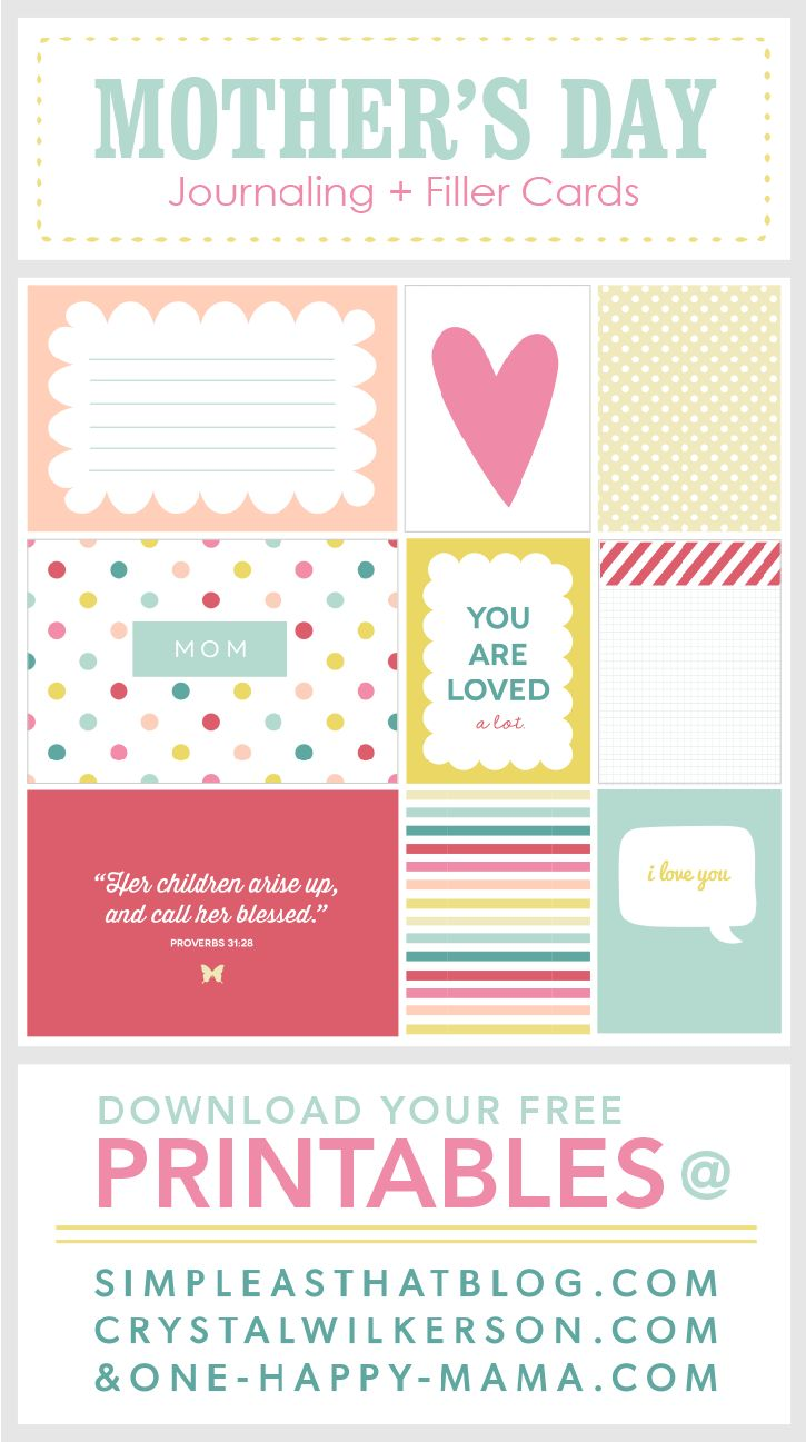 Free Mother's Day themed Journaling and Filler cards available at www.simpleasthatblog.com. Great for use with Project Life®or as simple gift tags!