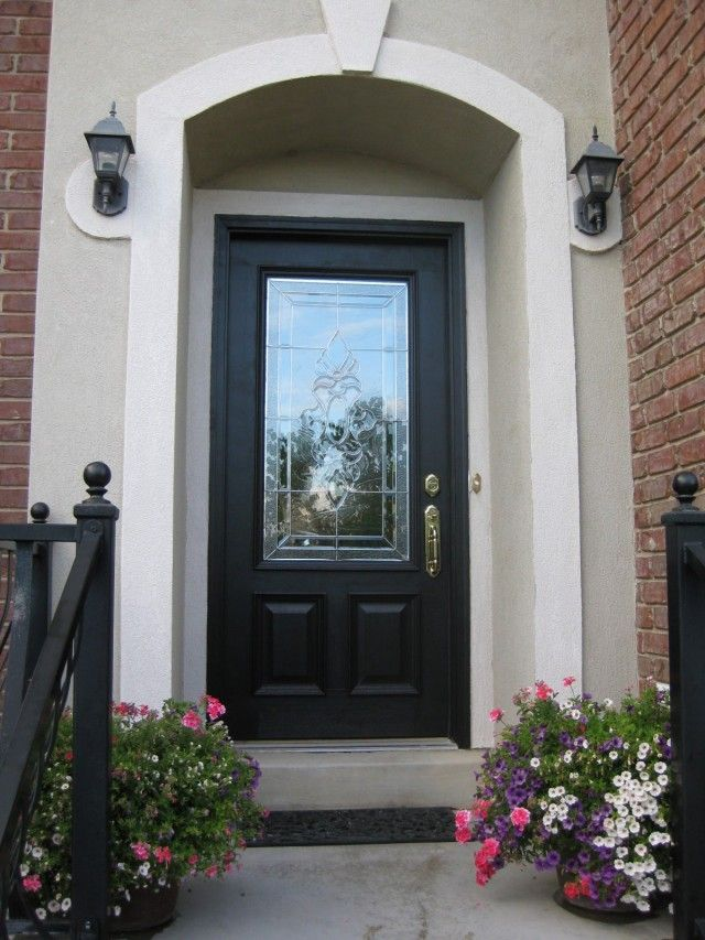 Exterior astonishing black front doors design picture for Half glass exterior door