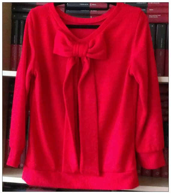 Red Knitted CottonBlend Sweater Knitted by PrincipessaLabel, $55.00