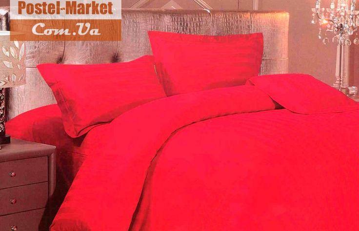 Наволочки 50х70 Love you сатин страйп красный купить в интернет магазине Постель Маркет (Киев, Украина)