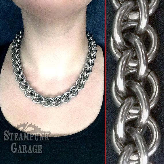 EXTREME Necklace Collar Choker Jewelry - 8 gauge Stainless Steel chainmaille