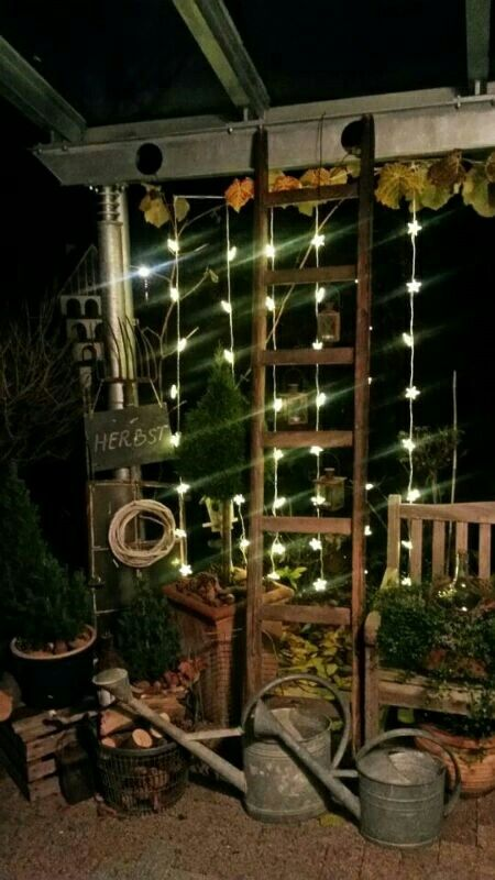 Fall, autumn, decoration, shabby, country, ladder, tin, can