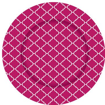 Hot Pink Moroccan Tile Charger Plates - Set of 12 contemporary-charger-plates