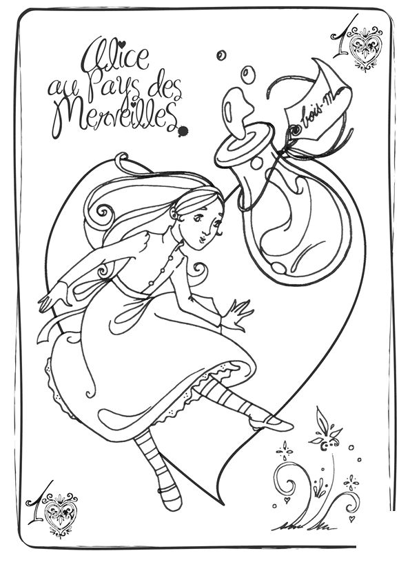 Alice In Wonderland Colouring Page