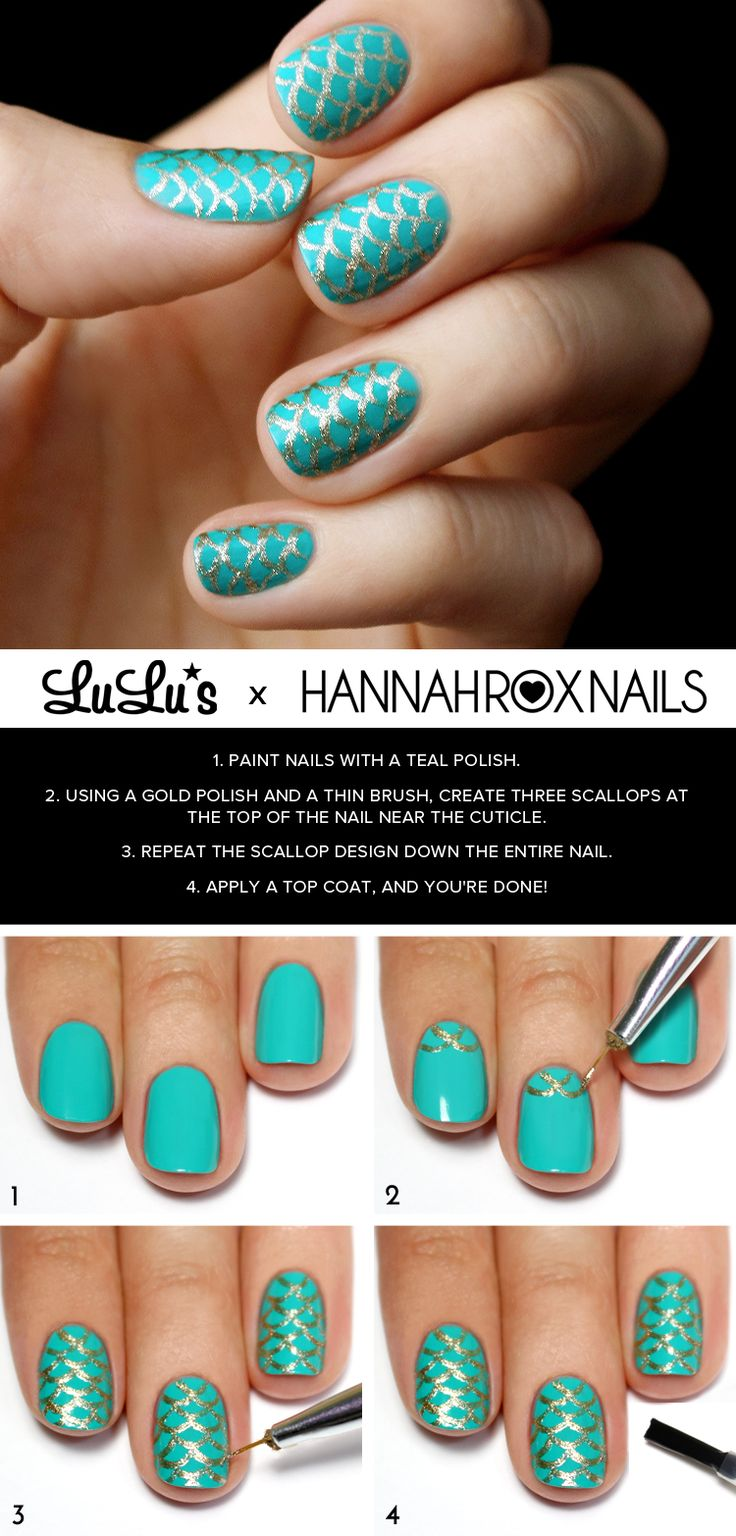 Mani Monday: Teal and Gold Mermaid Nail Tutorial - Lulus.com Fashion Blog