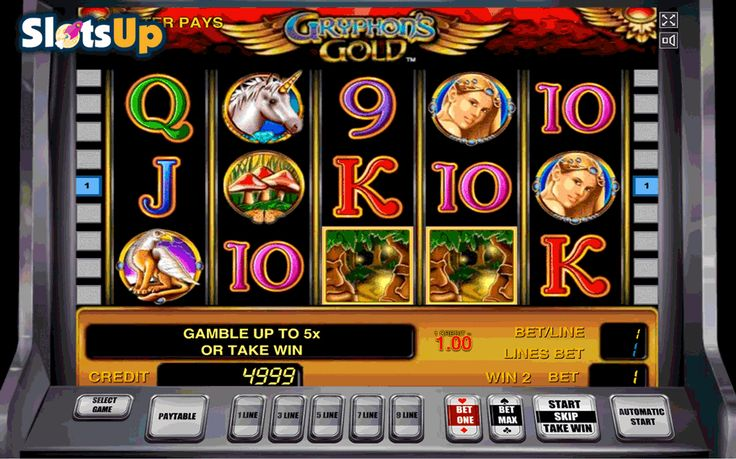 Gryphon's Gold is a wonderful free video slot machine from #Novomatic! This game features 5 reels and 9 paylines. Gameplay is quite dynamic, it includes wild and scatter symbols, free spins and multipliers. The design of the game is amazing as well, it has nice background with wonderful symbols of a unicorn, a princess, a gryphon, etc. This game is available on www.SlotsUp.com