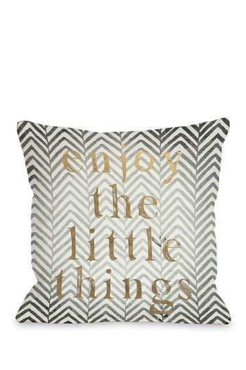 Enjoy The Little Things Chevron Gray Gold Pillow with Zipper by Lightning E-Commerce on @HauteLook