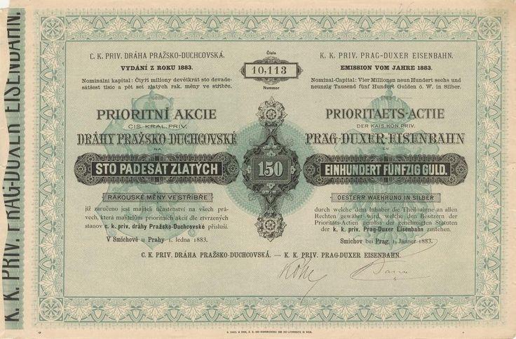 C. k. výs. železnice Pražsko-Duchcovská (K. k. priv. Prag-Duxer Eisenbahn). Prioritní akcie na 150 Zlatých. Praha, 1883.