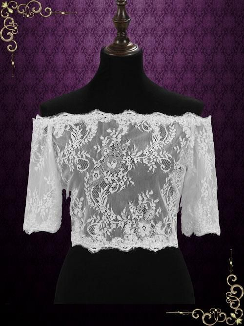 Off Shoulder Lace Shrug with Sleeves | SG1006 | ieie Bridal