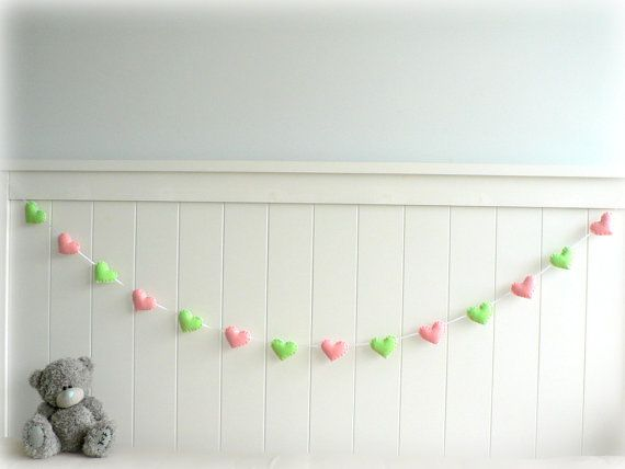 Felt heart banner -baby green and light pink by LullabyMobiles