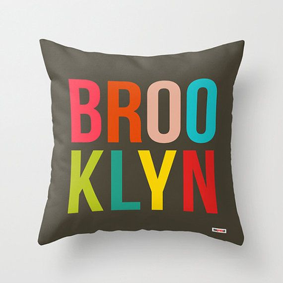 Brooklyn Decorative throw pillow cover - New York Modern pillow cover - Designer pillow case - City pillow case - America pillow cover on Etsy, $55.00 Finally ordered!! Love this pillow and the colors!!