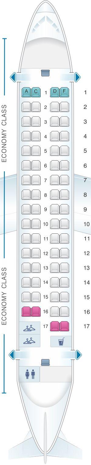 Seat Map Air Serbia ATR 72-200