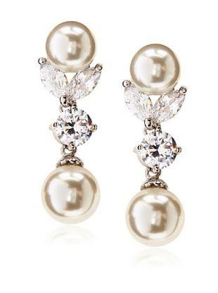 56% OFF CZ by Kenneth Jay Lane Glass Pearl & Cubic Zirconia Drop Earrings