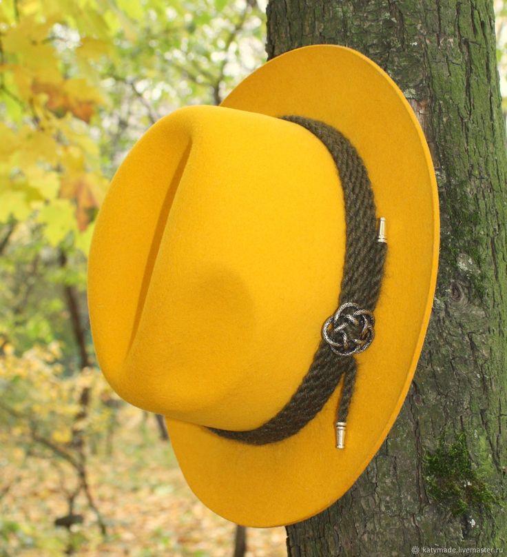 """Купить """"Желтая!"""" Шляпа женская фетровая в интернет магазине на Ярмарке Мастеров"""