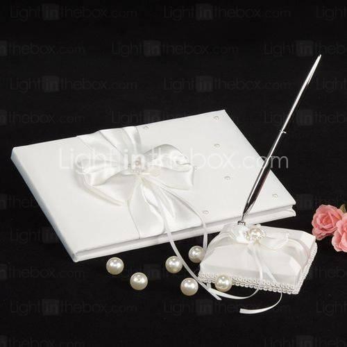 ivoren bruiloft gastenboek en pen set met parel accenten