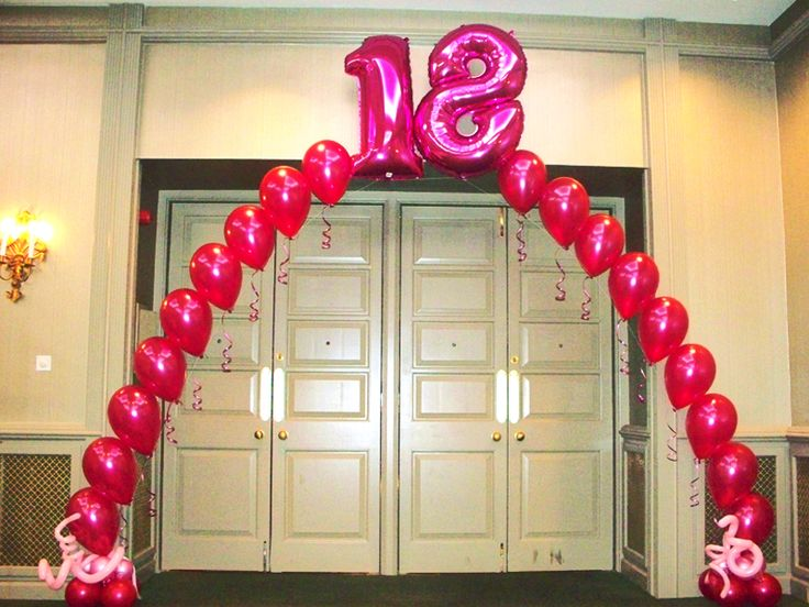 18th birthday balloon arch balloon numbers pinterest for 18th birthday decoration