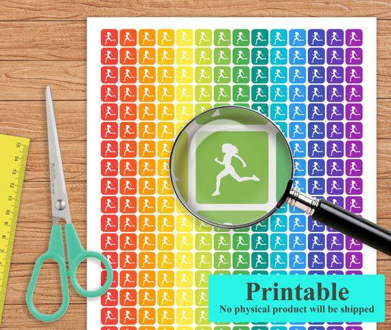 Printable Running Planner Stickers Running Stickers Erin