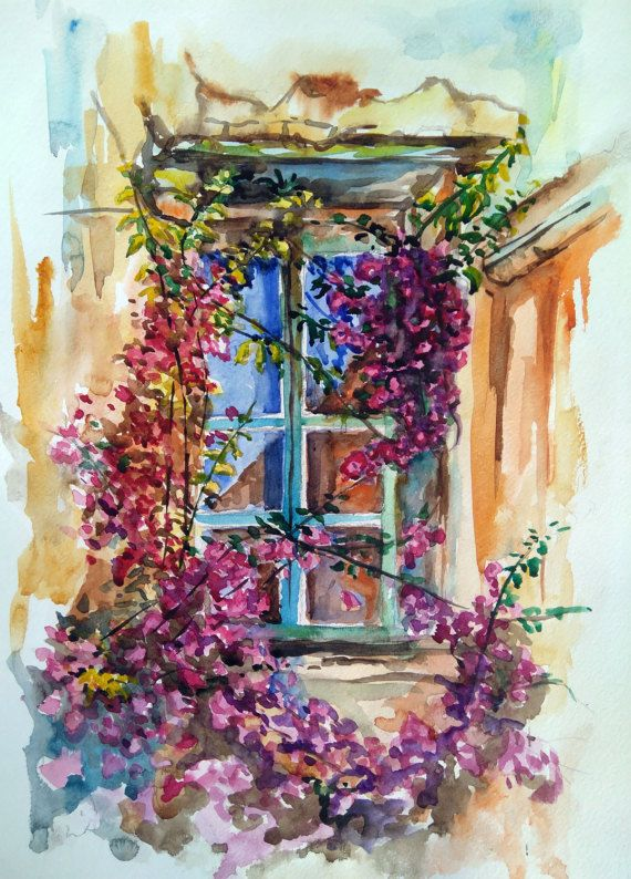 Digital art print Watercolour flowers Window by PaintingByAHeart