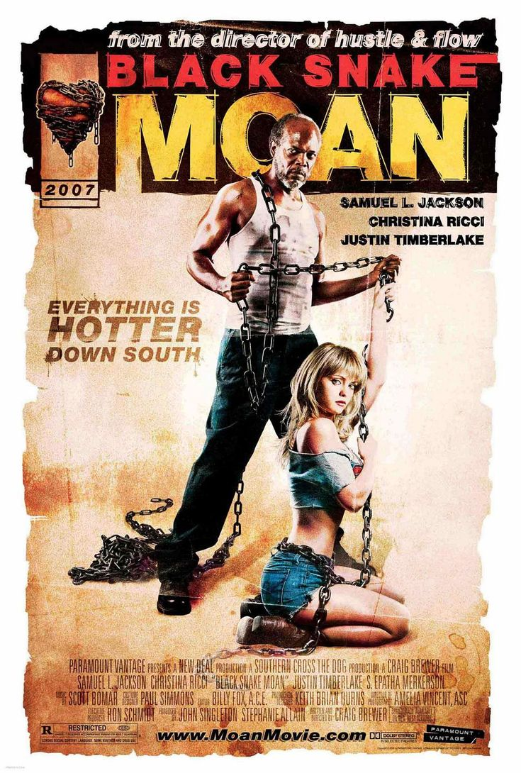 Black Snake Moan , starring Christina Ricci, Samuel L. Jackson, Justin Timberlake, S. Epatha Merkerson. A God-fearing bluesman takes to a wild young woman who, as a victim of childhood sexual abuse, looks everywhere for love, never quite finding it. #Drama
