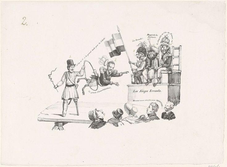 Anonymous | Dolende apen, 1830, Anonymous, 1830 - 1831 | Spotprent waarin de Belgische opstandeling Jambe de Bois op een podium koning Willem I als een aap door een hoepel laat springen, tot vermaak van het Belgische publiek. De koning verliest hierbij zijn kroon. Rechts op een verhoging zitten drie andere vorsten als apen: Karel X, Hussein Dey van Algiers en Karel II hertog van Brunswijk.