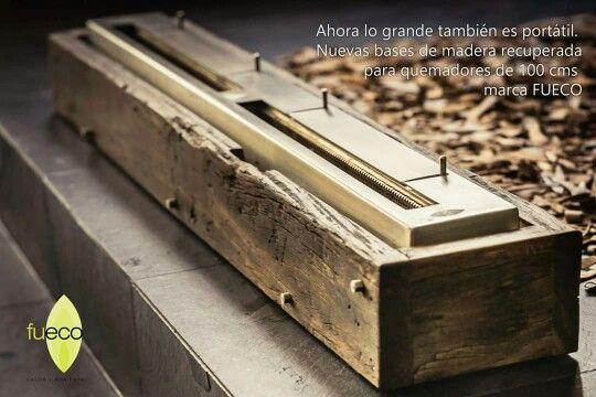 Bases de madera recuperada para quemadores #Fueco de #bioetanol de 100 cms.  Ideal para exteriores.