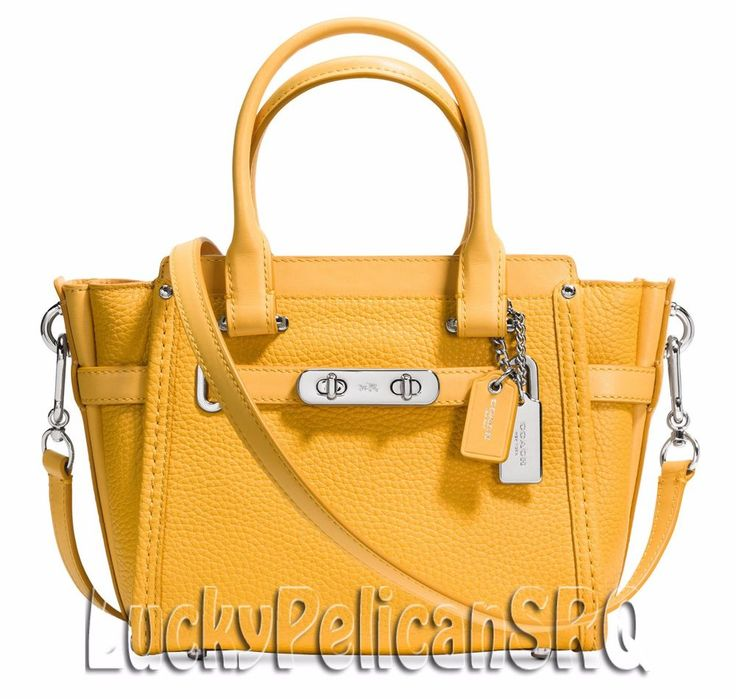 COACH 37444 Swagger 21 Carryall Satchel Bag Silver/Canary Yellow NWT #Coach #Satchel