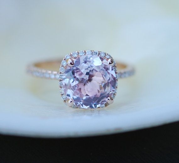 Sapphire Engagement Ring 14k Rose Gold Diamond Ring 2.67ct Cushion Mauve Blush Ice Peach Sapphire bu Eidel Precious on Etsy. SOLD