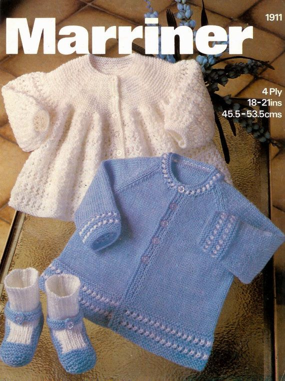 Baby Matinee Jacket 2 styles and Bootees 4 ply for Sizes ...
