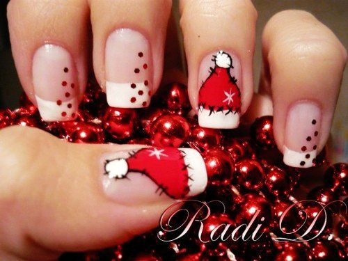 Santa Cap Christmas Nail Art For Short Nails Design - Cute Christmas Nail Art For Short Nails - LoveItSoMuch.com