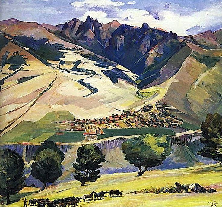 bofransson:  Martiros Saryan – Collective farm of village Karindzh in the mountains Tumanyan, 1952