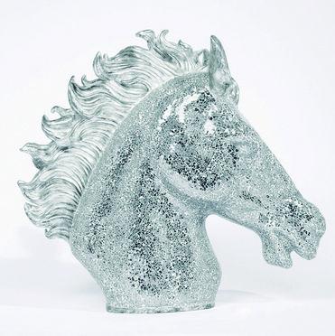 Modelo:  Shinny Horse  Descripción:  Figura decorativa cabeza de Caballo en fibra de vidrio con mosaico de espejo   Código:  68252