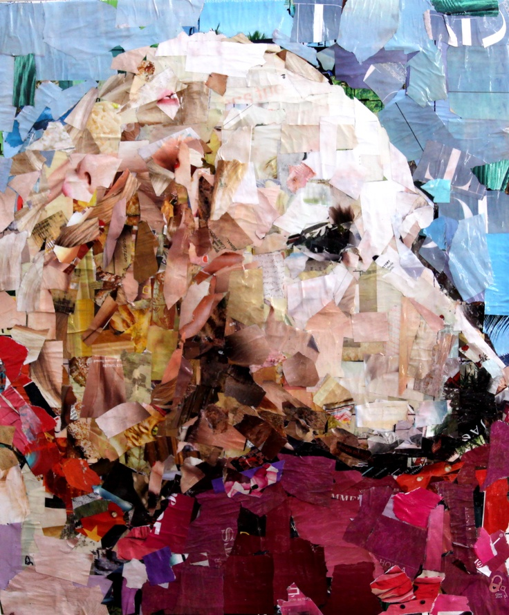 """Golden. Collage on Canvas. 20 x 24"""". 2012. Artist: Samuel Price  www.mydogcollage.com"""