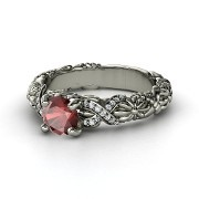 Round Red Garnet Palladium Ring with Diamond