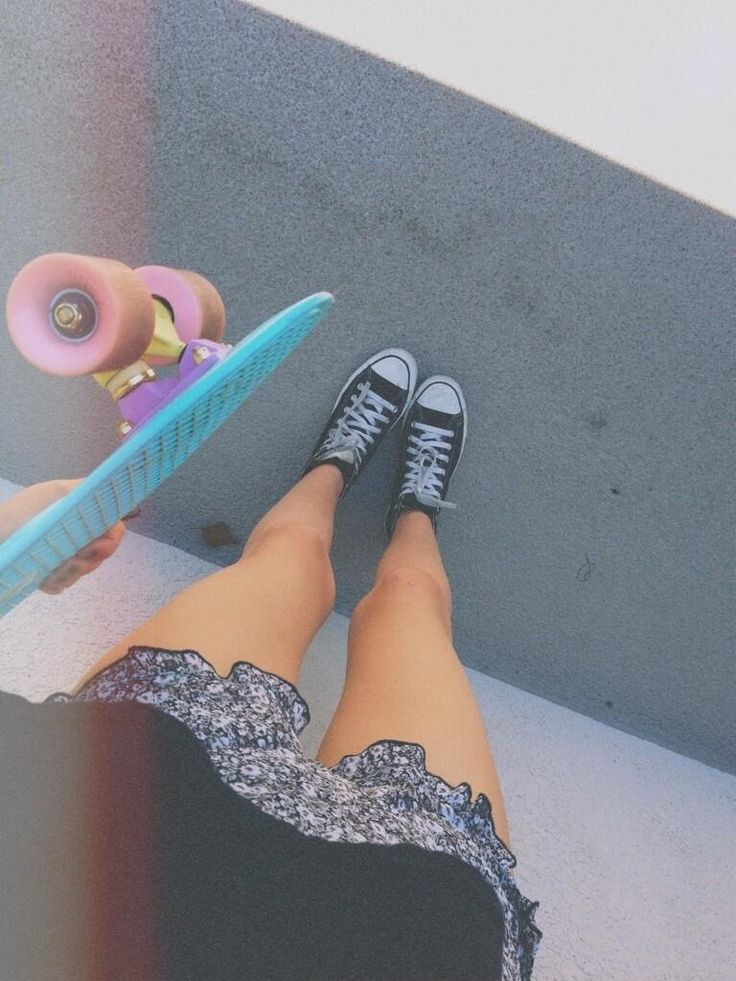 Skater Girl with penny board and converse