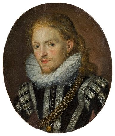 Artwork by British School, 16th Century, Portrait of a young noble gentleman with an earring, Made of oil on panel