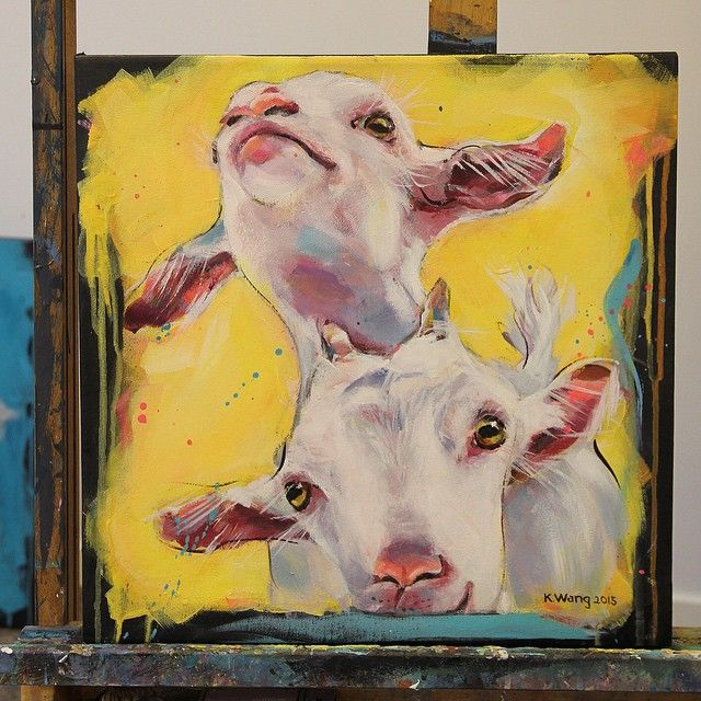 "Time for a little goat, or two again. ""Hans & Grete"". Acrylic on canvas 40x40 cm. #art #artwork #painting #acrylic #goats #friends #folklore #cute #playmates #yellow #kids #kunst #maleri #geiter #venner #lekekerater #akrylmaleri #kje #gul #_talent"