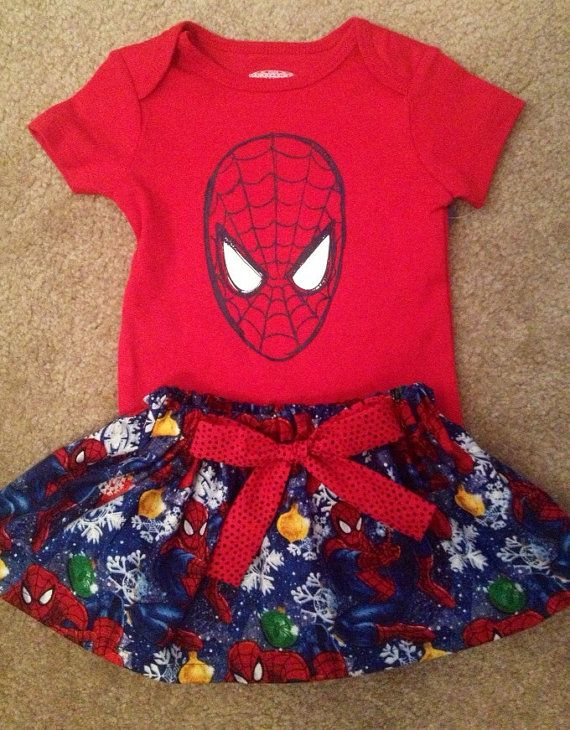 Christmas Super Hero Spiderman outfit baby girl skirt Dress up Set with hair matching Bow headband Size 3 6 9 12 18 24 months on Etsy, $29.50