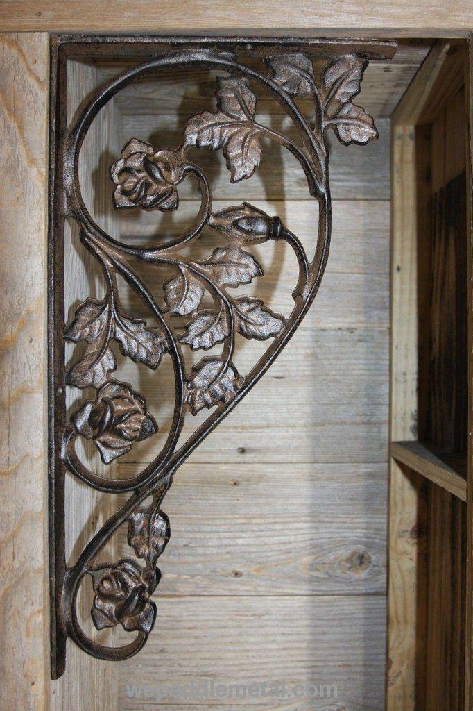 SET//4 RUSTIC BROWN CAST IRON metal VINTAGE-LOOK SHELF BRACKETS//PLANT HOOKS