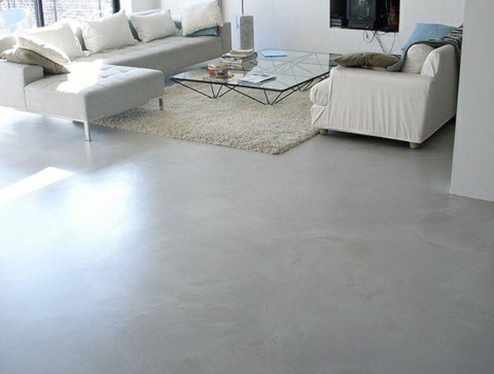 Un Joli Salon De Style Minimalist Tapis Blanc Leroy Merlin Beton Cire Gris Murs Blancs Home Remodeling Basement Furniture Home Decor